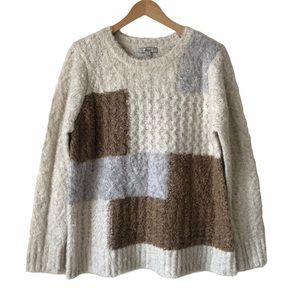 Bass Womens Boucle Cable Knit Colour Block Sweater